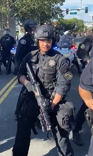 San Jose cop Jared Yuen is being investigated after screaming 'let's get this motherf***er' and 'shut up, b****' as he faced off with George Floyd protesters in California