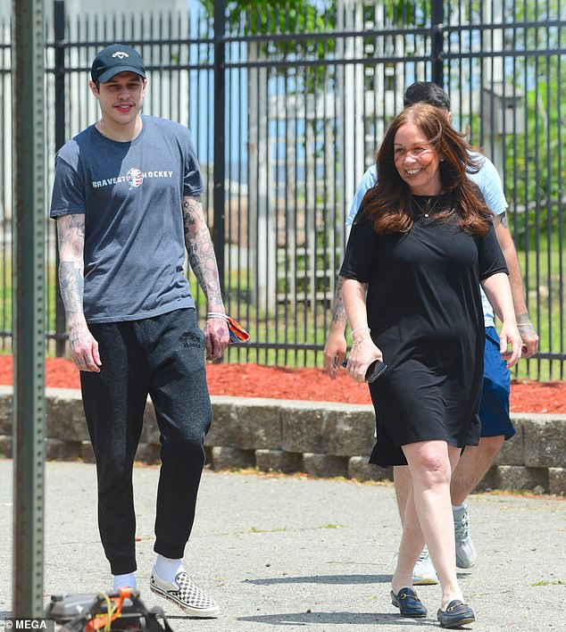 Mom and son! Pete was joined by his mom Amy ahead of an interview they were taping together in the park