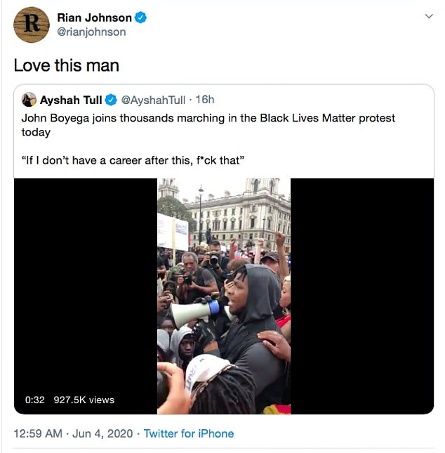 We are one: Star Wars: The Last Jedi director Rian Johnson also supported by retweeting a video of the actor with a simple caption that said: `` Love this man ''