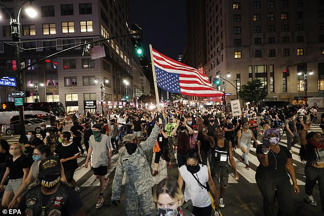 It comes as protests continue to build around the world after the death of 46-year-old black man Floyd after white policeman Derek Chauvin kneeled him on the neck in Minneapolis on May 25 during almost nine minutes. In the photo, New York last night