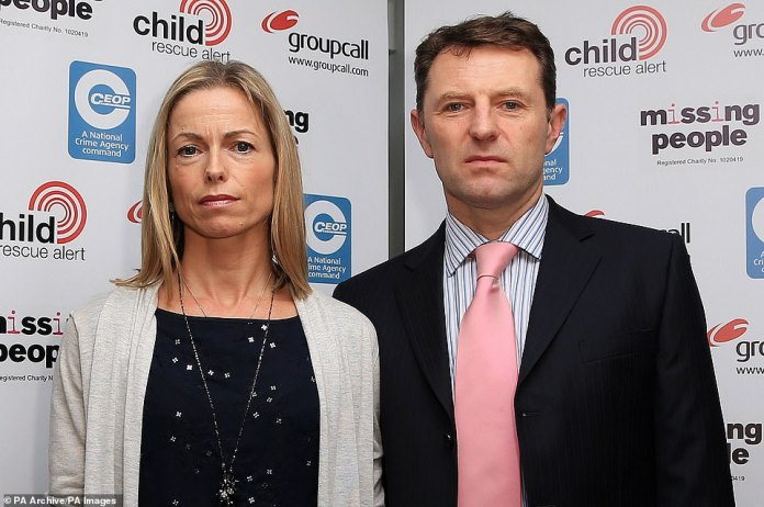 Madeleine's parents, Kate and Gerry McCann, are pictured in London in October 2014 during a Child Rescue Alert promotion ceremony