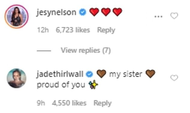 Support: Leigh-Anne's Little Mix comrades, Jesy, 28, and Jade, 27, shared their support by commenting on the video