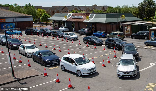 WESTON-SUPER-MARE: A complex queuing system was set up at a McDonald's in Weston-super-Mare on June 2