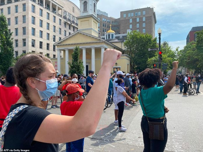 WASHINGTON, DC: Protesters gathered Saturday morning in the new Plaza