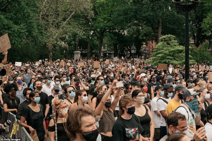 MANHATTAN, NEW YORK CITY: Washington Square Park was filled with thousands of protesters on Saturday