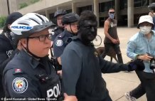 Toronto Man is Arrested for Turning Up to an Anti-racism Protest in Blackface and Gets Escorted Away by Police After Demonstrators Attacked him