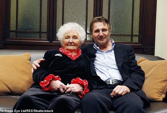 Sad news:Liam Neeson's mother Katherine 'Kitty' Neeson has passed away, just one day before the actor's 68th birthday (pictured in 2013)