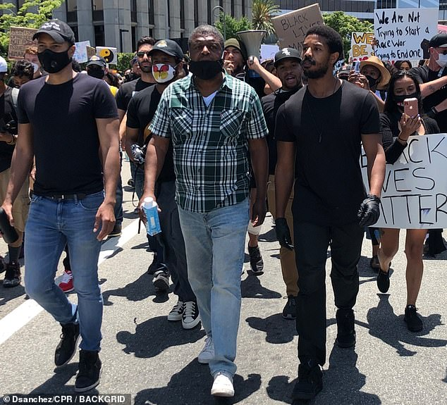 Black Lives Matter: Creed actor later marched lonely and supported by protesters, who demanded justice for the murder of George Floyd, who was killed by licensee Derek Chauvin