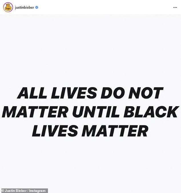 Messages: In addition to his well-intentioned tribute to Breonna, Justin also bombarded his disciple's chronologies with various Black Lives Matter memes and quotes in an effort to inspire change and conversation in his comment section.