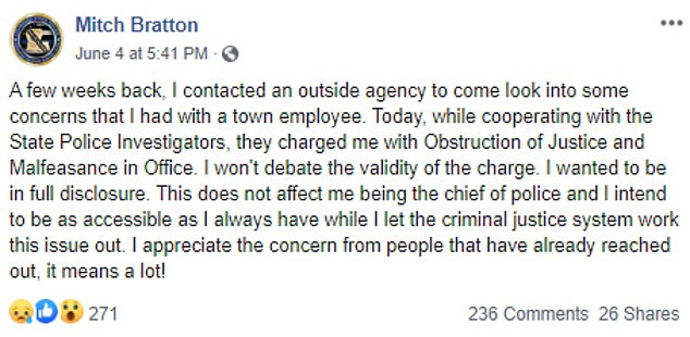 Grayson Police Chief Mitch Bratton shared the news of his arrest in a post on June 4. Bratton was booked into the Caldwell Parish Jail on two counts of obstruction of justice and one count of malfeasance in office