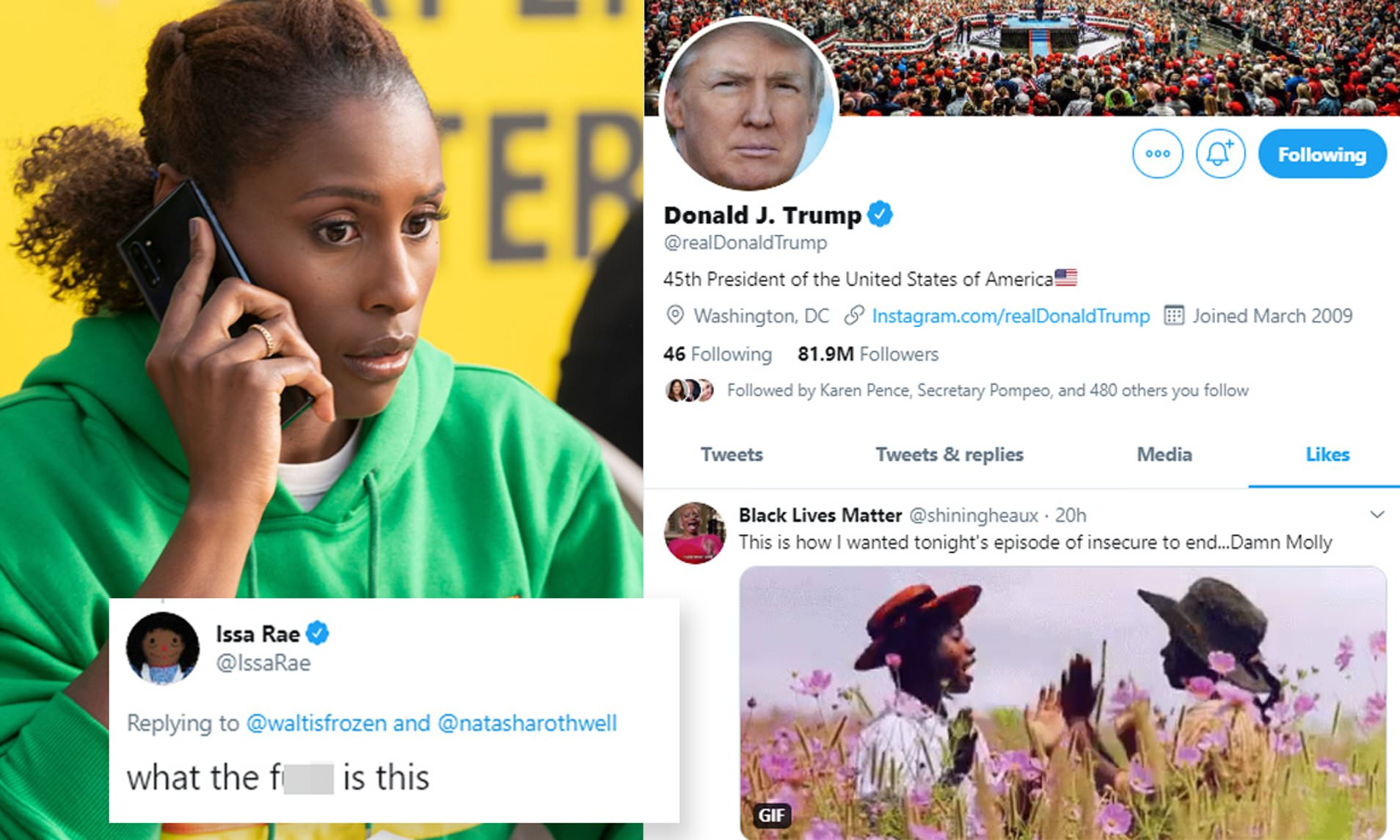 Donald Trump's Twitter account likes just one tweet, which is about Issa  Rae's series Insecure | Daily Mail Online