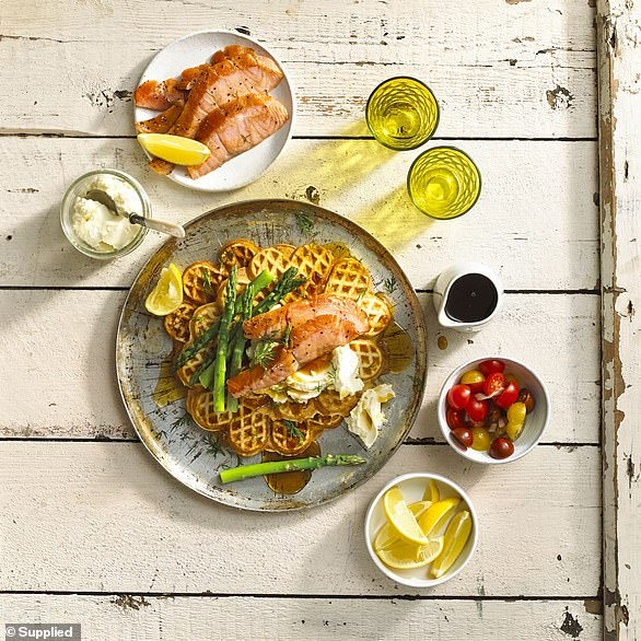 Waffles with salmon bacon, asparagus and maple syrup (pictured)