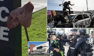 Bloody Pig Head Left on Spike Outside Police Station in Los Angeles