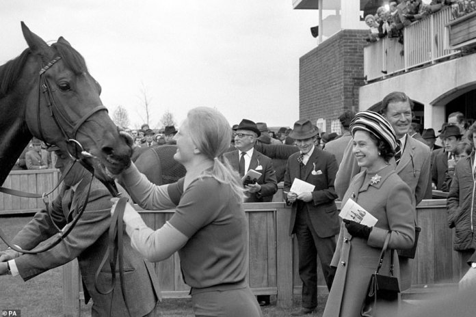 The queen appears in big sprits watching Highclere in 1974 after her victory at the 1000 Guineas in Newmarket. The Dual Classic winner won the 1000 Guineas and the Prix de Diane in Paris