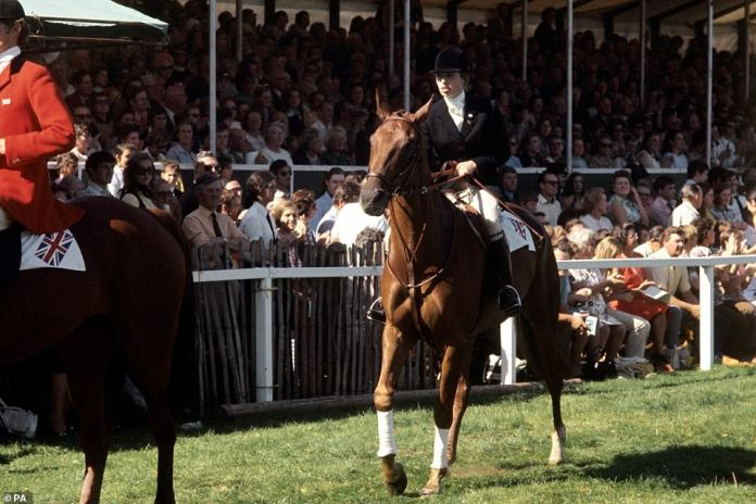 Princess Anne rides one of Queen Doublet's favorite horses after winning the European Eventing Championships at Burghley in 1971
