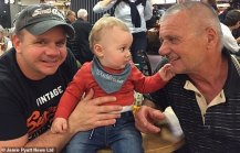 Eduard is pictured with his son Tommy (left) and three-year-old grandson Elijah. Tommy said: 'Edi was a proud father and grandfather and I feel a part of me has been ripped out. I could not believe that on Sunday instead of chatting to him as usual I was dealing with his death.'