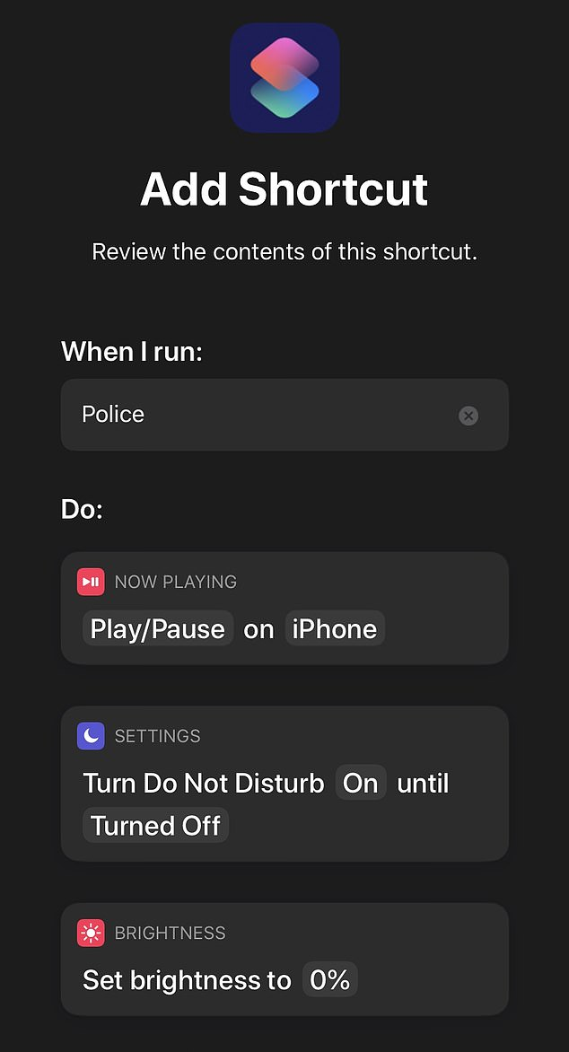 How to:After getting the shortcut , an iPhone user needs only to say, 'Siri, I'm getting pulled over,' and the phone will enact several functions simultaneously