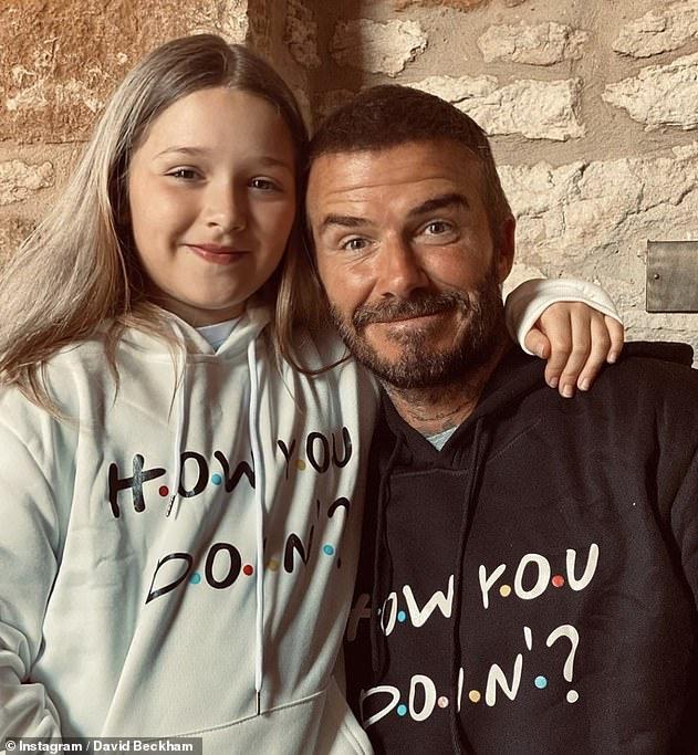 Locked up: David, pictured with her daughter Harper, eight years old, has spent the isolation in the family mansion in the Cotswolds