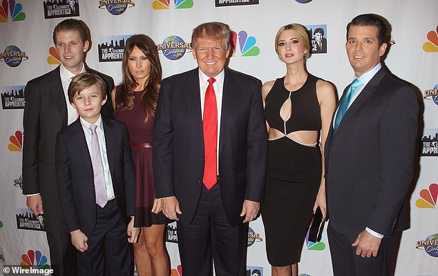 Melania Trump wanted her son Barron to have the same treatment as the eldest Trump children - Eric, Ivanka and Don Jr; the Trump family together in February 2015 to celebrate Donald Trump's show 'The Celebrity Apprentice'