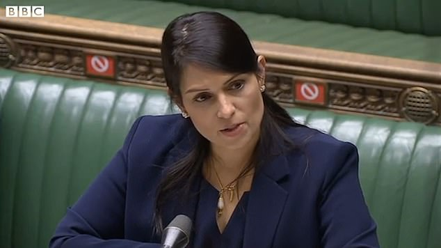 Home Secretary Priti Patel called on Mr Khan to uncover the bronze sculpture immediately