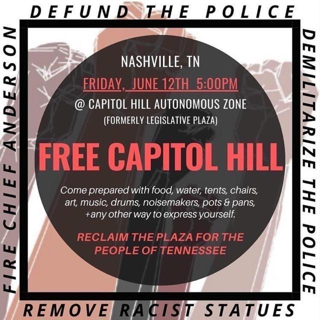 A flier for Friday's event in Nashville called for protesters to 'reclaim the plaza for the people of Tennesse'