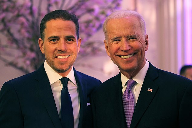 Ukrainian officials were offered $6 million in bribes to end a probe into energy company Burisma's founder, but said there was no connection to former board member Hunter Biden  (left) whose father Joe Biden (right) is running for the US presidency