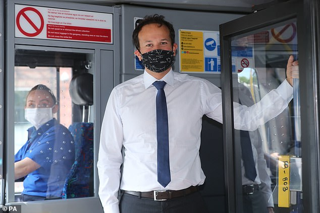 Taoiseach Leo Varadkar on a bus in Dublin city centre today encouraging passengers to wear face masks on public transport
