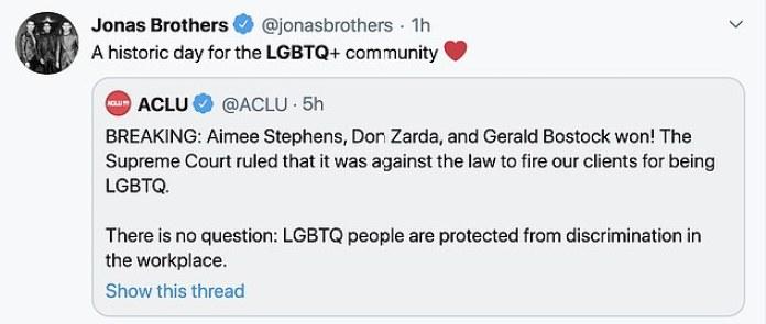 Jonas power: los hermanos Jonas escribieron en su cuenta de Twitter, 'Un día histórico para la comunidad LGBTQ +'