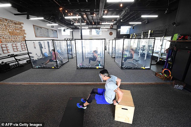 A California gym has come up with a novel idea of keeping people apart