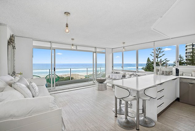 The successful consultant with multi-level marketing company Arbonne said a $50 silver banana she alleged was stolen from her matched the 'apple decor' of her two-bedroom, two-bathroom apartment (pictured) on Main Beach on the Gold Coast