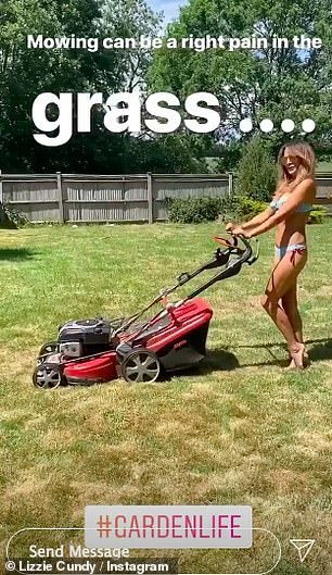 Trimming it down: The 52-year-old WAG seemed in great spirits as she documented herself taking care of her 'landing strip' by mowing the grass