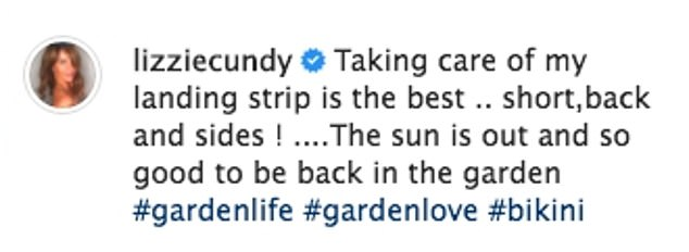 Hard at work: Lizzie Cundy turned her attention from her hedgerow to her lawn as she continued to flex her green fingers in lockdown