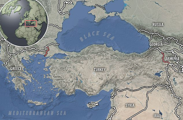A map showing the borders Turkey shares with Greece in the west and Armenia in the east. Leaked documents showing plans to invade both Greece and Armenia have been revealed