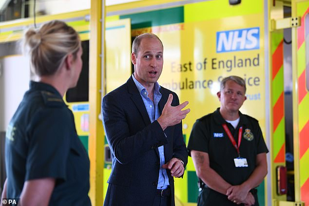 Prince William has returned to his public duties yesterday with a visit to socially distant to the position of ambulance Kings Lynn at the Queen Elizabeth hospital (photo)