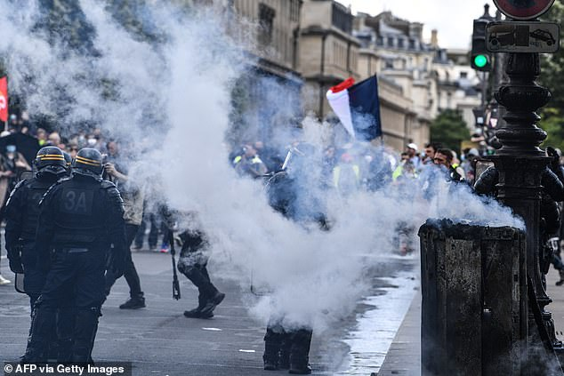 The clashes took place on the streets of Paris on Tuesday