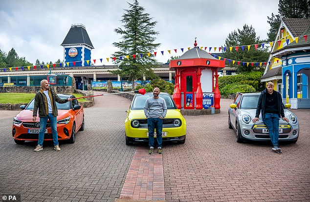 Reunited! Hosts Paddy, Freddie and Chris came out of the lock to meet at the Alton Towers Resort theme park in Staffordshire