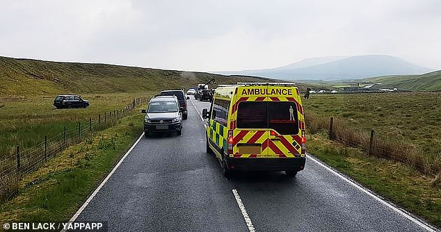 On hand to help: paramedics and police were on hand to help Paddy after the accident (photo) and a BBC spokesperson said the presenter was unharmed