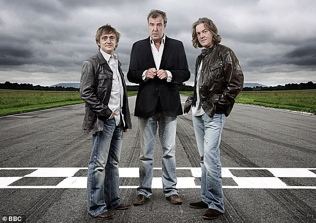 Famous crash: Richard (pictured with former Top Gear co-hosts Jeremy Clarkson and James May in 2008) found himself fighting for his life after crushing the Vampire Dragster in 2006