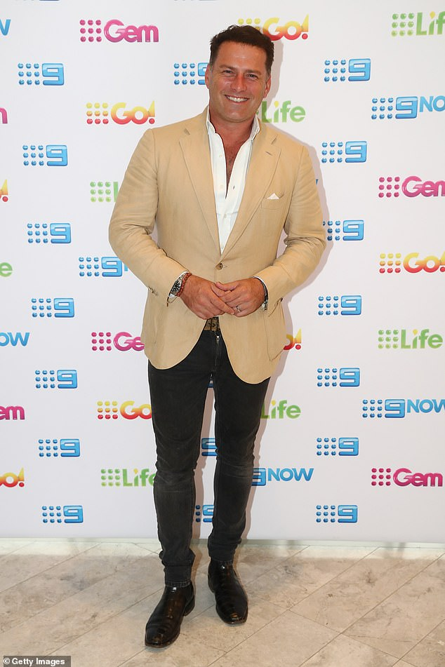 Good spirits: In December, Karl joked about his weight after he was photographed at the beach in Byron Bay. He shared one of the shirtless paparazzi photos - in which he displayed a noticeably fuller figure - and joked that he looked pregnant