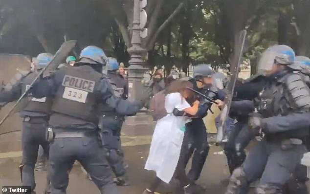 Riot police were filmed snatching Farida, who has been identified only by her first name, from a chaotic crowd of health workers calling for better pay and conditions in central Paris