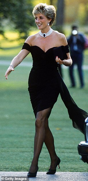 Princess Diana arriving at the Serpentine Gallery, London, in a dress by Christina Stambolian, June 1994