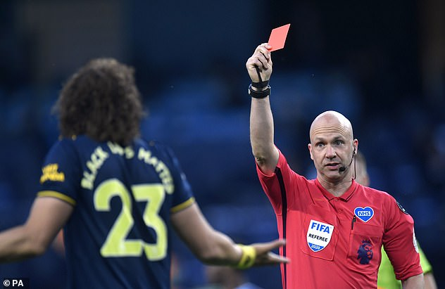 The defender was subsequently ejected early in the second period, while Manchester City dominated