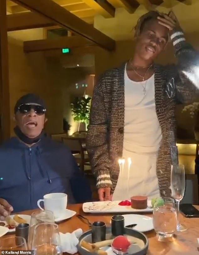 'Ha-ppy graduation to you!' In June, Stevie adapted his iconic Happy Birthday song to serenade son Kailand in Nobu as he celebrated his graduation