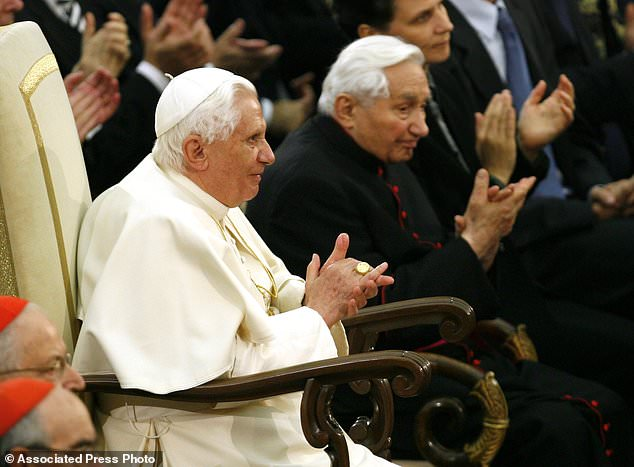Pope Benedict XVI (left) and his brother Georg (right) during a concert of the Symphony Orchestra of Bayerischer Rundfunk and the Bamberger Symphoniker at the Paul VI Hall at the Vatican