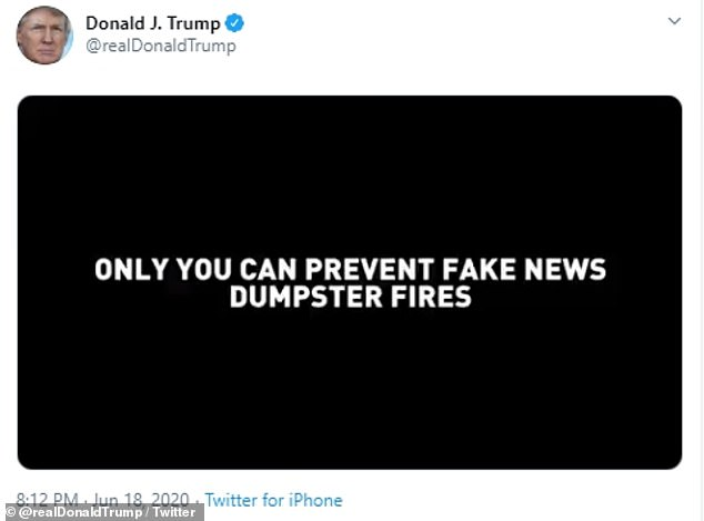 'Only you can prevent fake news dumpster fires' is a play on words of the phrase made popular by Smokey Bear, the mascot used in the famous ad campaigns run by the United States Forest Service