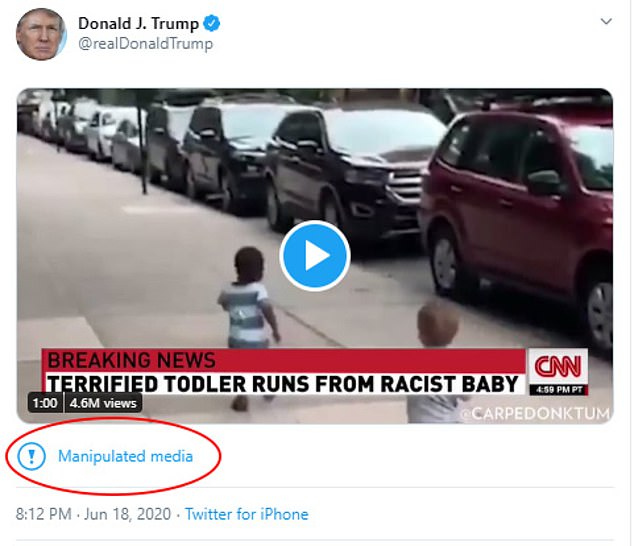 Trump's tweet prompted Twitter to add a disclaimer warning users that it was 'manipulated media.' The disclaimer links to a web page outlining Twitter policies as they relate to selectively edited clips