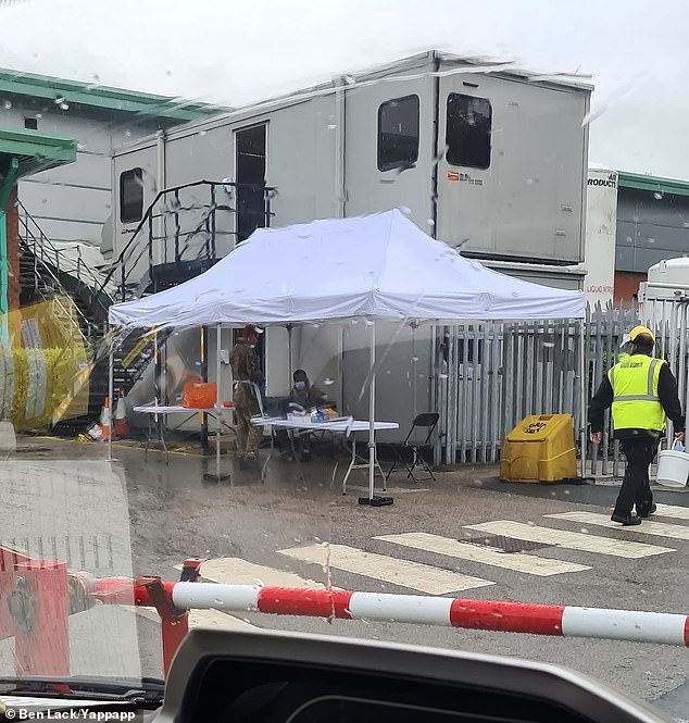 Kober Ltd in Cleckheaton near Bradford where mobile testing tents have been set up after Health secretary Matt Hancock announced an outbreak of Covid 19 in todays Downing Street briefing