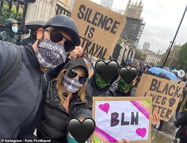 Powerful: Kate recently shared a passionate article on social media after attending the Black Lives Matter demonstration in London with her family