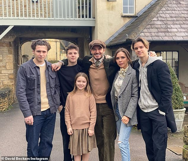 Family fun: The couple spent lockdown with their three youngest children, Romeo, 17, Cruz, 15, and Harper, eight at the stunning location