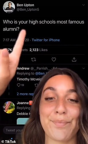 Peer:TikTok user Lila Savoia shared the images in response to a tweet asking people to reveal the most famous alumni from their high school